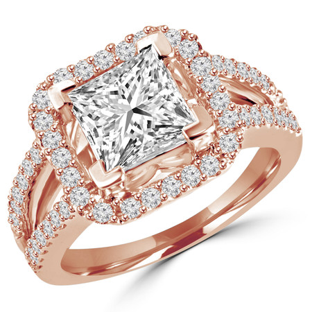 Princess Cut Diamond Multi-Stone Split-Shank V-Prong Vintage Halo Engagement Ring with Round Diamond Scallop-Set Accents in Rose Gold - #HR6264-R
