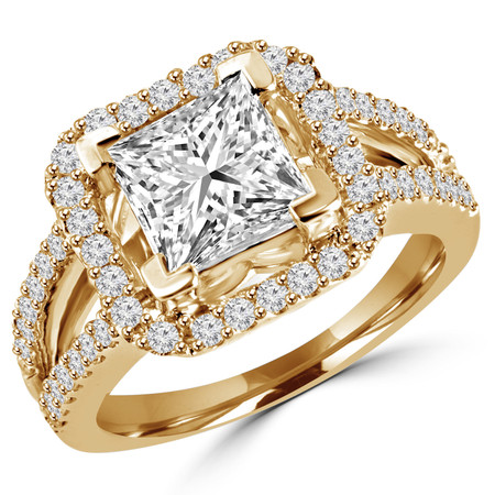 Princess Cut Diamond Multi-Stone Split-Shank V-Prong Vintage Halo Engagement Ring with Round Diamond Scallop-Set Accents in Yellow Gold - #HR6264-Y