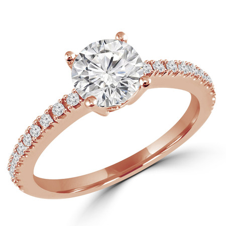 Round Cut Diamond Multi-Stone 4-Prong Engagement Ring with Round Diamond Scallop-Set Accents in Rose Gold - #HR6266-R