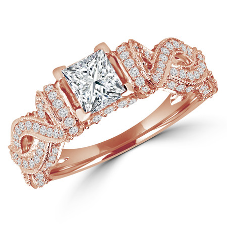Princess Cut Diamond Multi-Stone Infinity-Motif V-Prong Engagement Ring with Round Diamond Accents in Rose Gold - #HR6529-R