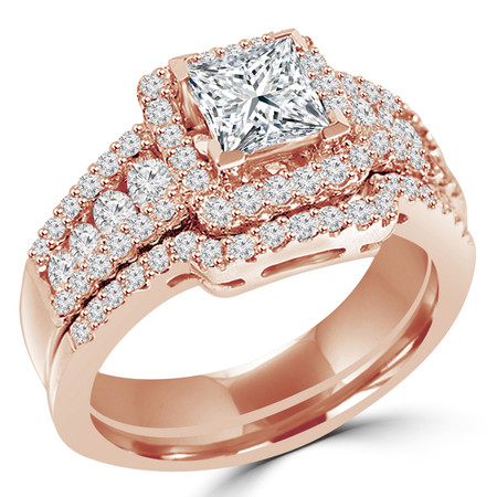 Princess Cut Diamond Multi-Stone V-Prong Vintage Halo Engagement Ring & Wedding Band Bridal Set with Round Prong & Channel-Set Diamond Accents in Rose Gold - #HR6533-A-B-R