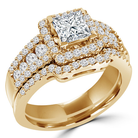 Princess Cut Diamond Multi-Stone V-Prong Vintage Halo Engagement Ring & Wedding Band Bridal Set with Round Prong & Channel-Set Diamond Accents in Yellow Gold - #HR6533-A-B-Y