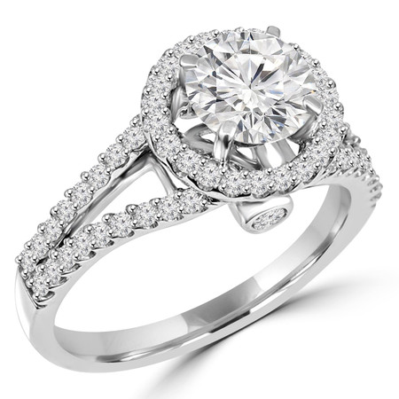 Round Cut Diamond Multi-Stone Split-Shank 4-Prong Vintage Halo Engagement Ring with Round Diamond Accents in White Gold - #HR6539A-W