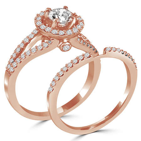 Round Cut Diamond Multi-Stone Split-Shank 4-Prong Vintage Halo Engagement Ring & Wedding Band Bridal Set with Round Diamond Accents in Rose Gold - #HR6539A-B-R