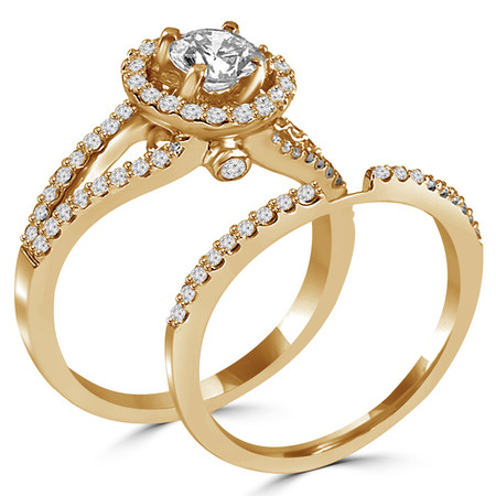Round Cut Diamond Multi-Stone Split-Shank 4-Prong Vintage Halo Engagement Ring & Wedding Band Bridal Set with Round Diamond Accents in Yellow Gold - #HR6539A-B-Y