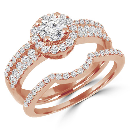 Round Cut Diamond Multi-Stone 4-Prong Vintage Halo Engagement Ring & Wedding Band Bridal Set with Round Prong & Channel-Set Diamond Accents in Rose Gold - #HR6550A-B-R