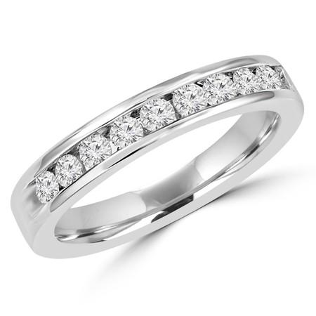 Round Cut Diamond Semi-Eternity Channel-Set Wedding Band Ring in White Gold - #HR4508-W