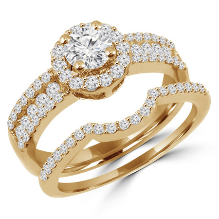 Round Cut Diamond Multi-Stone 4-Prong Vintage Halo Engagement Ring & Wedding Band Bridal Set with Round Prong & Channel-Set Diamond Accents in Yellow Gold - #HR6550A-B-Y