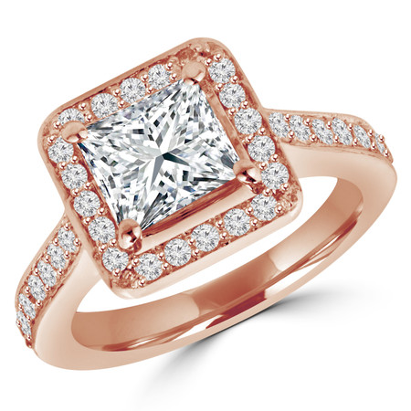 Princess Cut Diamond Multi-Stone 4-Prong Halo Engagement Ring with Round Diamond Accents in Rose Gold - #IMP-R-0-RING-PR-R