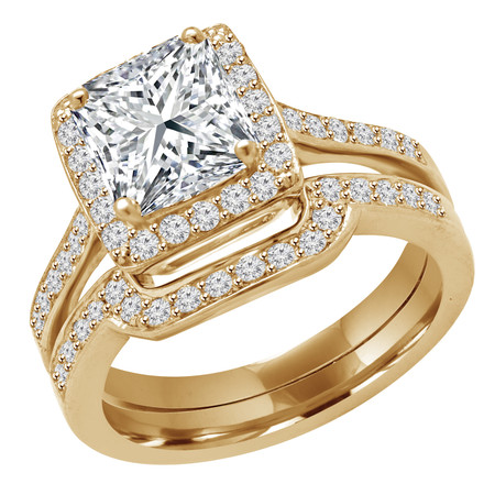 Princess Cut Diamond Multi-Stone 4-Prong Halo Engagement Ring & Wedding Band Bridal Set with Round Diamond Accents in Yellow Gold - #IMP-R-0-SET-PR-Y