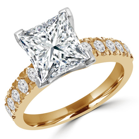 Princess Cut Diamond Multi-Stone V-Prong Engagement Ring with Round Diamond Accents in Yellow Gold - #LOCAL-NOVO-PR-Y