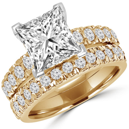 Princess Cut Diamond Multi-Stone V-Prong Engagement Ring & Wedding Band Ring Bridal Set with Round Diamond Scallop-Set Accents in Yellow Gold - #LOCAL-NOVO-A-B-PR-Y