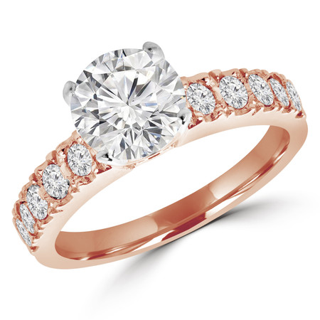 Round Cut Diamond Multi-Stone 4-Prong Engagement Ring with Round Diamond Scallop-Set Accents in Rose Gold - #LOCAL-NOVO-MD-R-R