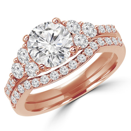 Round Cut Diamond Multi-Stone 6-Prong Engagement Ring & Wedding Band Bridal Set with Round Diamond Scallop-Set Accents in Rose Gold - #MAJ-11-SET-R