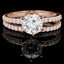 Round Cut Diamond Multi-Stone 6-Prong Engagement Ring & Wedding Band Bridal Set with Round Diamond Scallop-Set Accents in Rose Gold - #MAJ1-A-B-SET-R