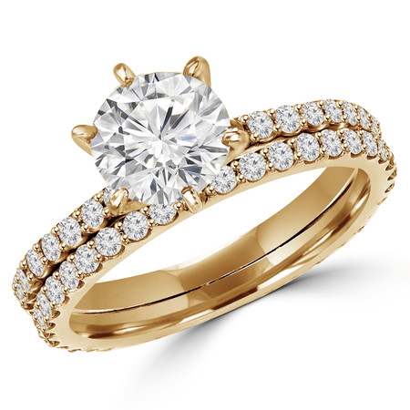 Round Cut Diamond Multi-Stone 6-Prong Engagement Ring & Wedding Band Bridal Set with Round Diamond Scallop-Set Accents in Yellow Gold - #MAJ1-A-B-SET-Y