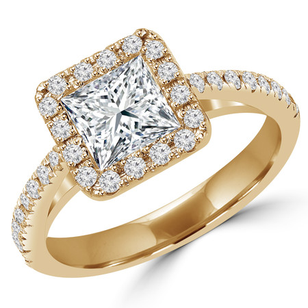 Princess Cut Diamond Multi-Stone Bezel-Set Halo Engagement Ring with Round Diamond Accents in Yellow Gold - #MD-0006-Y-PR