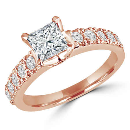 Princess Cut Diamond Multi-Stone 4-Prong Engagement Ring with Round Diamond Accents in Rose Gold - #LOCAL-R-NOVO-PR-R