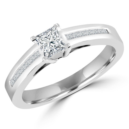 Princess Cut Diamond Multi-Stone Engagement Ring with Princess Cut Diamond Channel-Set Accents in White Gold - #HR4528-W