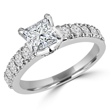 Princess Cut Diamond Multi-Stone 4-Prong Engagement Ring with Round Diamond Accents in White Gold - #LOCAL-R-NOVO-PR-W