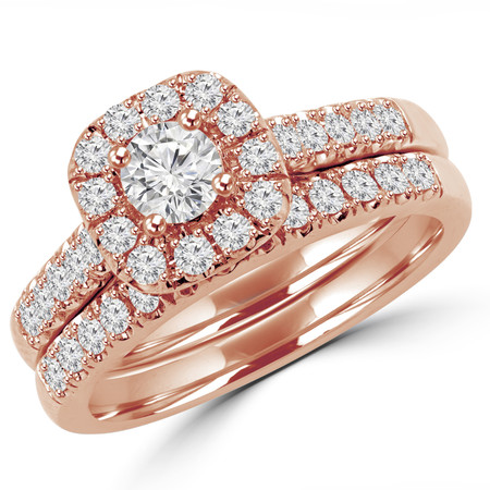 Round Cut Diamond Multi-Stone Halo 4-Prong Engagement Ring and Wedding Band Bridal Set in Rose Gold - #SKR15450-100-R