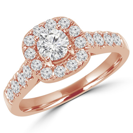 Round Cut Diamond Multi-Stone Antique Vintage Halo 4-Prong Engagement Ring in Rose Gold - #SKR15450-125E-R