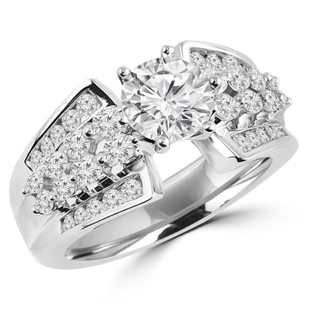 Round Cut Diamond Multi-Stone 6-Prong Vintage Ring with Round Diamond Accents in White Gold - #HR4684-W