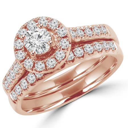 Round Cut Diamond Multi-Stone Halo 4-Prong Engagement Ring and Wedding Band Bridal Set in Rose Gold - #SKR15451-100-R