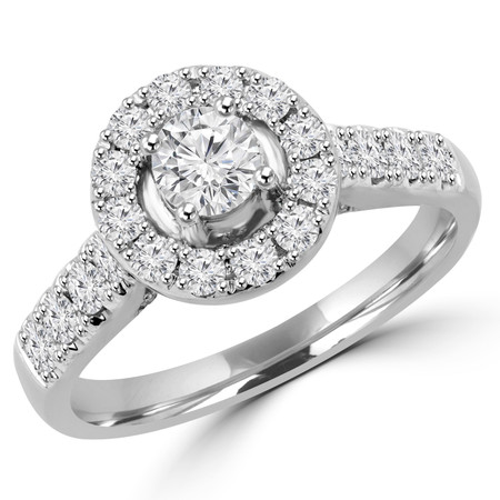 Round Cut Diamond Multi-Stone Antique Vintage Halo 4-Prong Engagement Ring in White Gold - #SKR15451-125E-W