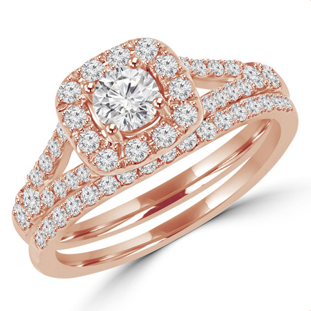 Round Cut Diamond Multi-Stone Halo 4-Prong Engagement Ring and Wedding Band Bridal Set in Rose Gold - #SKR15503-100-SET-R