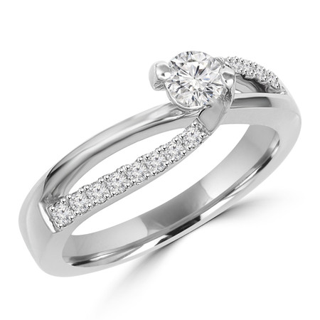 Round Cut Diamond Multi-Stone 2-Prong Criss Cross Engagement Ring with Round Diamond Accents in White Gold - #HR6008-W