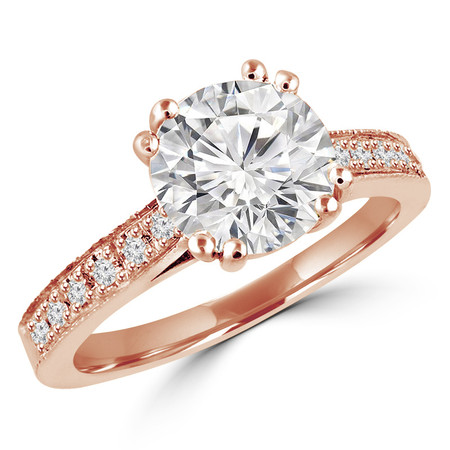Round Cut Diamond Multi-Stone 4 Double-Prong Cathedral-Set Vintage Engagement Ring with Round Diamond Accents in Rose Gold - #SM2361-R