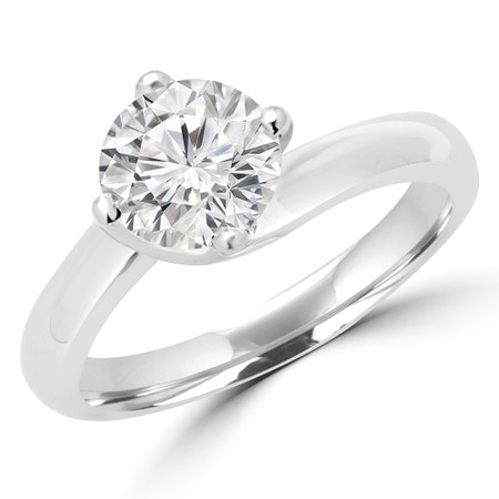 Round Cut Diamond Solitaire 4-Prong Bypass Engagement Ring with Round Diamond Accents in White Gold - #KATE-W
