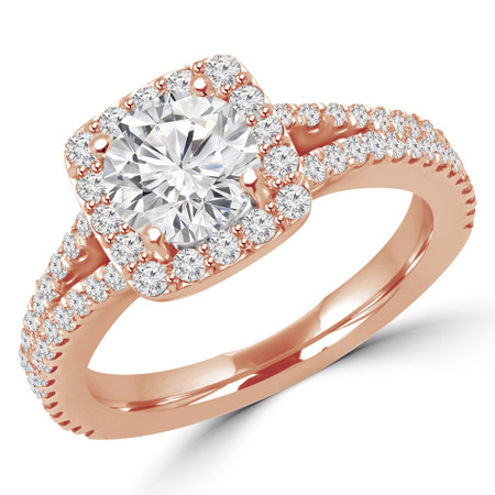 Round Cut Diamond Multi-Stone 4-Prong Split-Shank Halo Engagement Ring with Round Diamond Accents in Rose Gold - #ANA-R