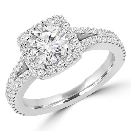 Round Cut Diamond Multi-Stone 4-Prong Split-Shank Halo Engagement Ring with Round Diamond Accents in White Gold - #ANA-W