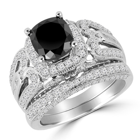 Cushion Cut Black Diamond Multi-Stone 4-Prong Vintage Halo Engagement Ring & Wedding Band Bridal Set with Round White Diamond Accents in White Gold - #HR6216-W-A-B-BLK