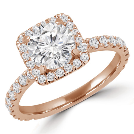 Round Cut Diamond Square Halo 4-Prong Multi Stone Engagement Ring in Rose Gold - #YUNESS-R