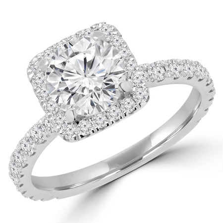 Round Cut Diamond Square Halo 4-Prong Multi Stone Engagement Ring in White Gold - #YUNESS-W