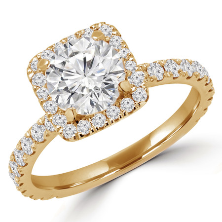 Round Cut Diamond Square Halo 4-Prong Multi Stone Engagement Ring in Yellow Gold - #YUNESS-Y