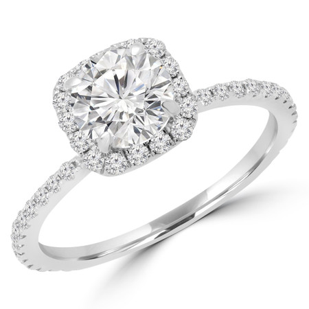 Round Cut Diamond Multi Stone Halo Engagement Ring with Accents in White Gold - #MARIE-W