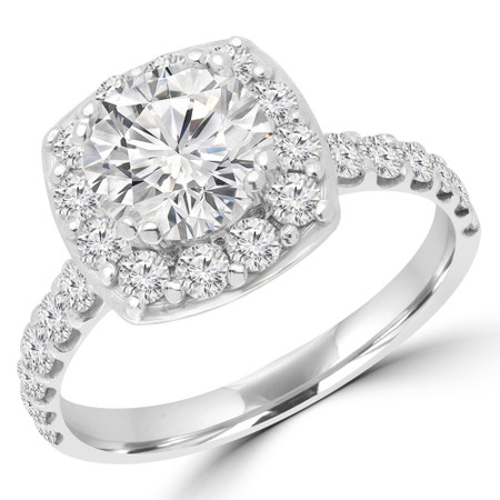 Round Cut Diamond Multi-Stone 4-Prong Halo Engagement Ring with Round Diamond Accents in White Gold - #ELLE-W