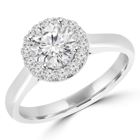 Round Cut Diamond Multi-Stone 4-Prong Halo Engagement Ring with Round Diamond Accents in White Gold - #ALESSANDRA-W