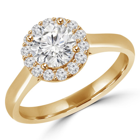 Round Cut Diamond Multi-Stone 4-Prong Halo Engagement Ring with Round Diamond Accents in Yellow Gold - #ALESSANDRA-Y