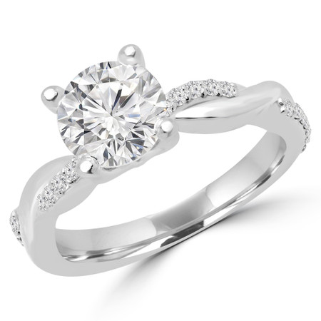 Round Cut Diamond Multi-Stone 4-Prong Twisted Engagement Ring with Round Diamond Accents in White Gold - #CLAUDIA-W