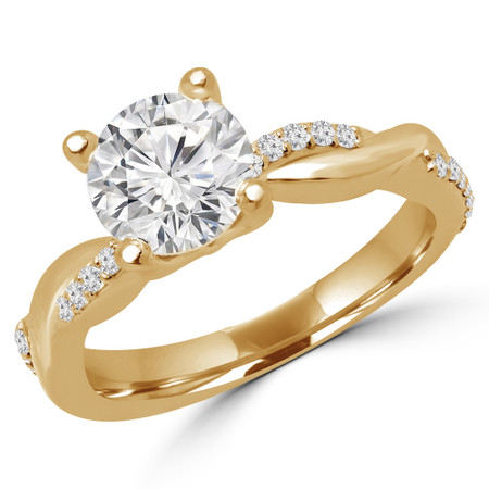 Round Cut Diamond Multi-Stone 4-Prong Twisted Engagement Ring with Round Diamond Accents in Yellow Gold - #CLAUDIA-Y