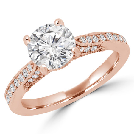 Round Cut Diamond Multi Stone 4-Prong Engagement Ring in Rose Gold - #SELITA-R