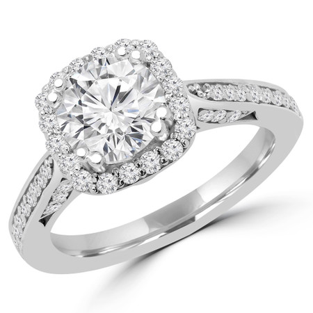 Round Cut Diamond Multi-Stone 4-Prong Halo Engagement Ring with Round Diamond Accents in White Gold - #ELLA-W