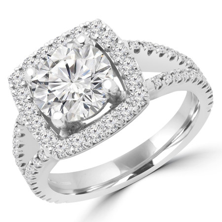Round Cut Diamond Multi-Stone 4-Prong Halo Engagement Ring with Round Diamond Accents in White Gold - #KAREN-W