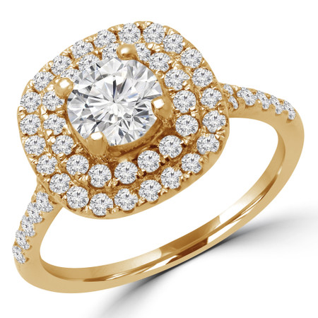 Round Cut Diamond Multi-Stone Double Halo 4-Prong Engagement Ring in Yellow Gold - #DBL-HALO-Y