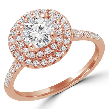 Round Cut Diamond Multi-Stone 4-Prong Double Halo Engagement Ring with Round Diamond Accents in Rose Gold - #JESSICA-R